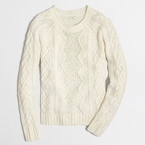 J Crew Embellished Cableknit Sweater